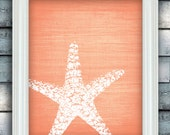 Starfish Wish - Beach Theme Art Poster - Linen Style Texture - Custom Color - Bathroom Print - Unframed