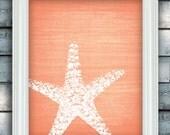 Starfish Wish - Beach Theme Art Poster - Linen Style Texture - Custom Color - Bathroom Print - Unframed