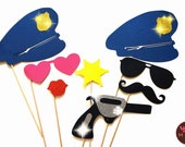 Photo Booth Props - The Deluxe Police Officer Collection - 8 piece prop set - Birthdays, Weddings, Parties - GLITTER Photobooth Props