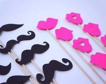 Mustaches and Neon Pink Lips on a Stick - Set of 16 - Birthdays, Weddings, Parties - Photo Booth Props