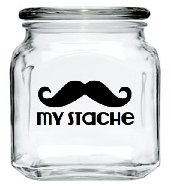My Stache Jar - Mustache Glass Jar - Black - 32 oz. Money Jar