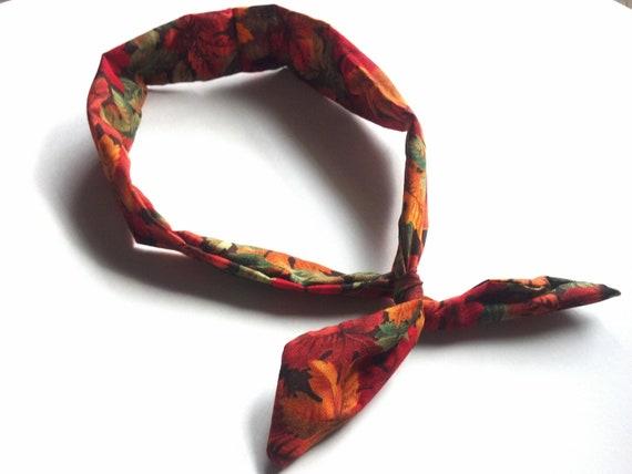 Fall Twist Headband, Autumn Orange Leaves Fabric Wire Wrap Hair Accessory, Orange Red Green