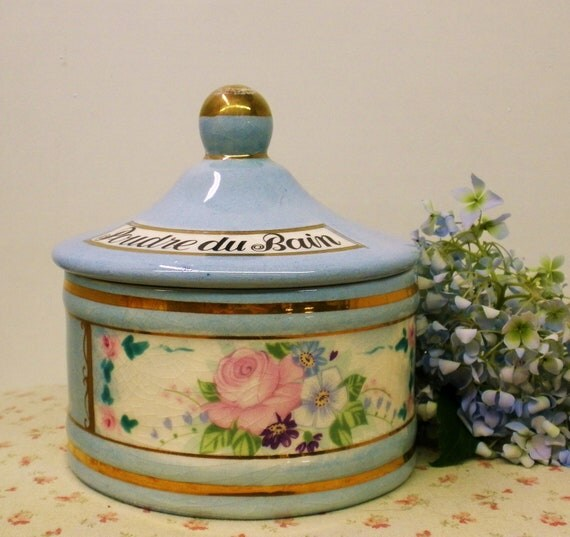Beautiful Vintage French Poudre du Bain Apothecary Jar .Powder Container  by Jeanne Robinette of California