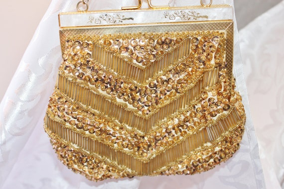 Classic 1950s Hand Beaded Evening Purse Made in Hong Kong