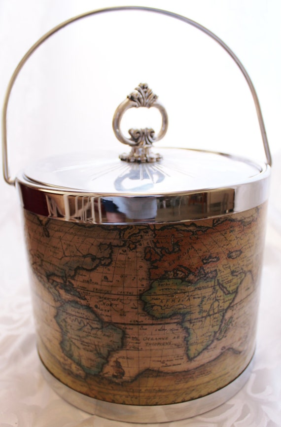 Ice Bucket Vintage Old World Map