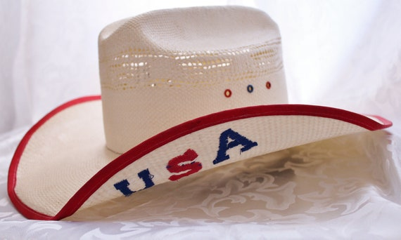 Vintage Cowboy Hat White With USA Embroidered On The Side