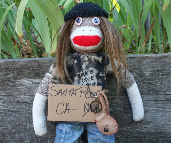 Mooner the Spaced Out Sock Monkey Hippie Dude