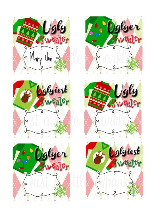Ugly Sweater Voting Ballots-DIY-YOU PRINT, Winner Ribbons, Contest ...