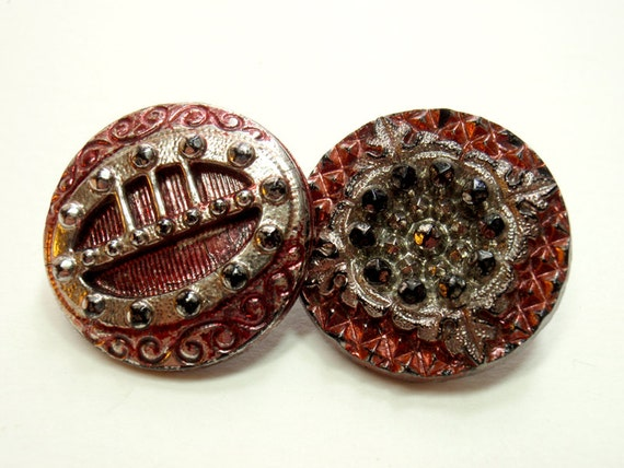 Ruby & Silver Luster Buttons, 2 Antique Black Glass, 22 mm, Vintage Buttons
