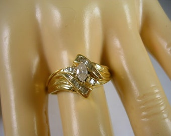 Marquise Diamond Ring .34 Ctw Size 9.5 Yellow Gold 14K 4.1 grams ByPass Design
