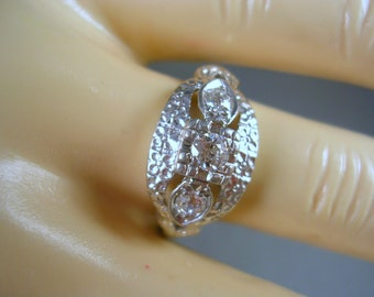 Antique 1930s Diamond Band Ring 14K White gold .37Ctw Size 6.75 Early Three Stone Ring