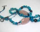Christmasinjuly, Sale, Blue Ladies Necklace For her - Sale, gemstone w blue howlite and rose quartz beads