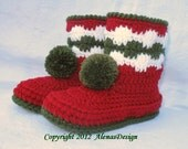 Crochet Pattern 066 - Christmas Childrens Pom-Pom Boots Christmas Boots Boys Girls Child Winter Red Boots Slippers Christmas Decoration