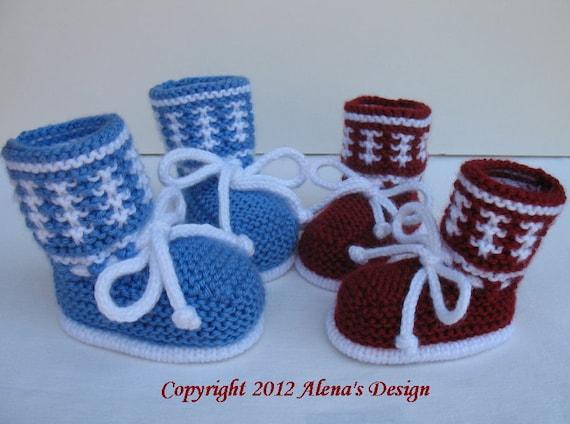 Knitting Pattern 033 - Knitting Booties Pattern - Booties Knitting Pattern for High-Top Baby Booties - Newborn Baby Boys Baby Girls Red Blue