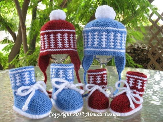 Knitting PATTERN Set - Knitting Hat and Booties Patterns - Knitting Hat Pattern for Pom-Pom Ear Flap Hat - Knitting Baby Booties Pattern