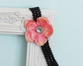 Pink Flower with Rhinestone and Tulle Center on a Black Lace Headband
