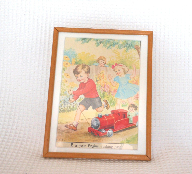 Vintage Childrens Print Illustration Matted Framed Wood