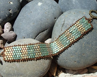 Custom Order: Bronze and Aqua Athena Style Beaded with Japanese Glass Beads. Free Shipping.