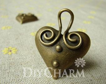 Antique Bronze Cartoon Heart Charms 28x36mm - 5Pcs - DC22305
