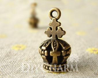 Antique Bronze Three Dimensional Crown Charms 26x14mm - 5Pcs - DC26245
