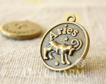 Antique Bronze Aries The Ram Courageous Constellation Round Charms 18x18mm - 10Pcs - DC24594
