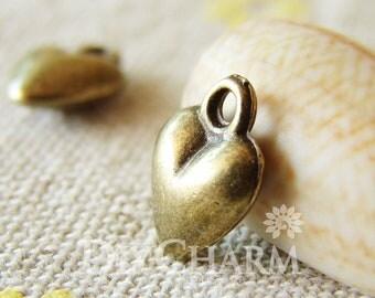 Antique Bronze 3D Heart of Love Charms Pendants Drops 9x9mm - 20Pcs - DC24820