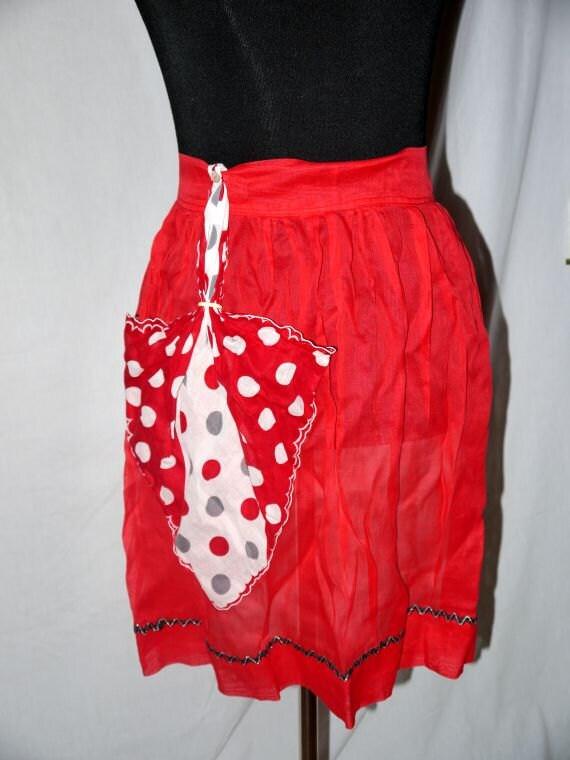 Vintage 50s Mid Century half apron / hankie pocket / red organza / gray white polka dots / mad men housewife