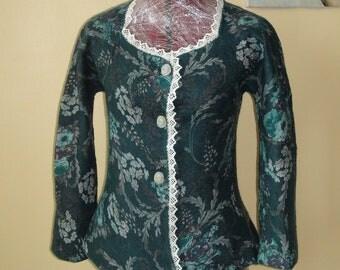 Nuno felted jacket, wonderfully beautiful flowers, emerald green