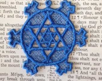 Lace Star of David, Machine Embroidered bookmark,  Embroidery Lace Bookmark, Blue Bookmark