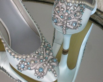 Wedding Shoes - Butterfly Bridal Heels - Blue/White/Ivory/Custom Colors - Lace, Crystal and Pearls