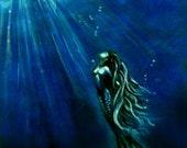 Mermaid painting art print by Michaeline McDonald 12x18