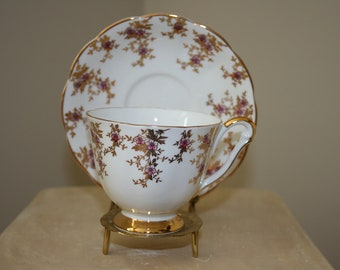 Vintage Queen Anne Fine Bone China Made in England Cup and Saucer White Pink Gold Flowers Shabby Cottage Chic