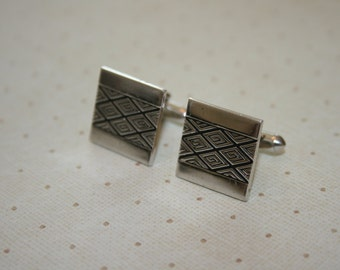 Vintage Mens Swank Brand Cuff Links Silver Tone Square with Diamond Pattern