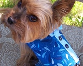 Dog Harness Vest In Blue waves print with bow tie Size X-Small for toy dogs