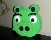 Green Pig wood shelf sitter - Great for kids Ready to ship