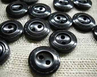 15 plastic  black buttons- 15mm -