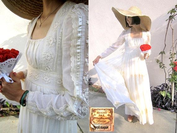 Vintage 1970s Gunne Sax for Joseph Magnin Ivory Voile & Lace Romantic Hippie Bohemian Maxi Wedding Dress Gown Size 9 XS-S