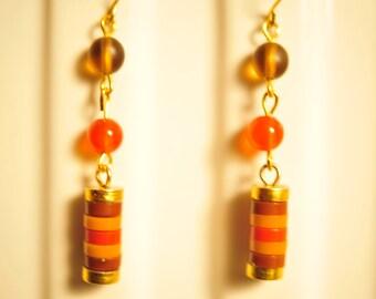 Handmade Vintage Shades of Brown Stacked Earrings