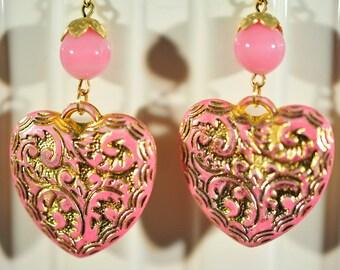 Handmade Vintage Pink and  Gold Ornate Heart Earrings