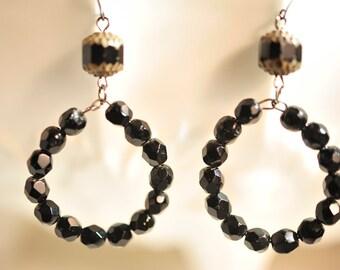 Handmade Vintage Faceted Black Circle Drop Earrings