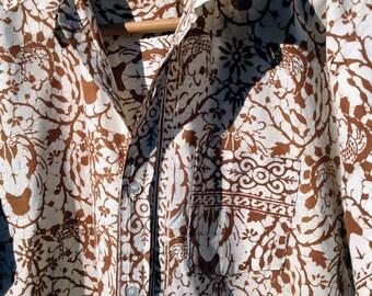 Mens Genuine Batik Hawaiian Shirt Mad Men Vintage 1950s 1960 Tropical Polynesian Tiki Bar Shirt Philippines Border Print Lightweight 50s 60s