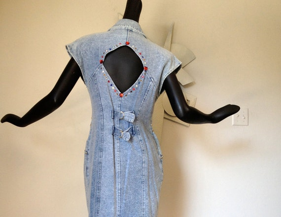 Vintage 80s party acid wash denim dress Open Back blue jean bedazzled studded studs Jewels Padded Shoulder Pads Medium Large  Sexy CUTOUT