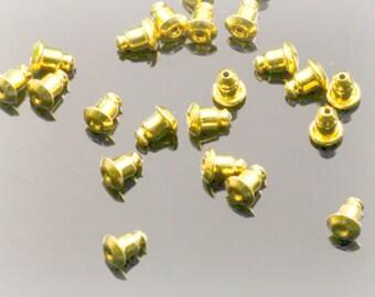 gold earring backs, 6mm barrel stoppers, 30pcs