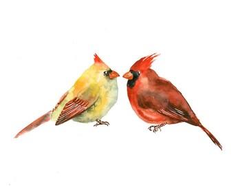 CARDINALS-Print 10X8inch-Print 10X8inch Art Print 8x10inch-Poster-Archival print-Animal print-wall decor-home decor-bird art