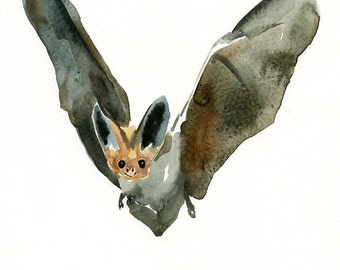 BAT-ACEO print-Art Print-animal Watercolor Print-nursery decor-children art-halloween print