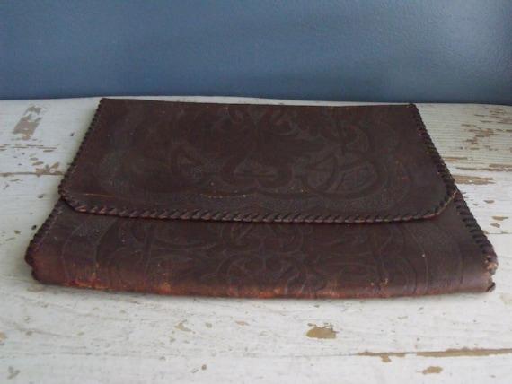 Vintage Tooled Leather Portfolio Clutch