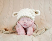 Crochet Lamb Hat, Newborn and baby