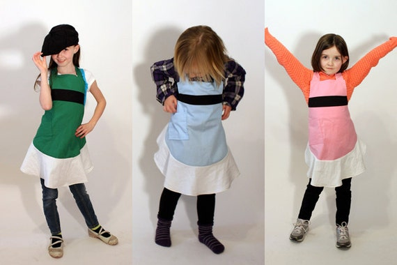 kids powerpuff girls apron -- choose your color and size