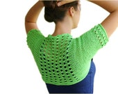 Summer Shrug in Neon Green  -  Lace Patterned Cotton Bolero - Sweater - Vest -  Spring Summer Fall Fashion - Women Teens Accessories