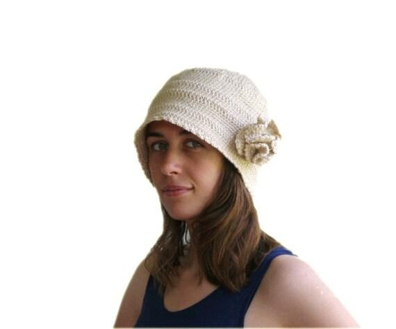 Cloche Hat in Sparkled Beige with Flower - Neutral Beanie - Fall Winter Fashion - Women Teens Accessories